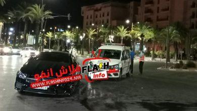 صورة اصطدام سيارة خفيفة بسيارة شرطة يستنفر أمن مراكش.